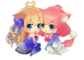 Chibi Commish: Butter and Kokoro by chuwenjie