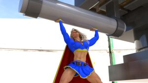 Supergirl lifts heavy weight by DahriAlGhul