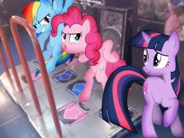 Rainbow Dash and Pinkie Pie are playing DDR (NEW) by alerkina2