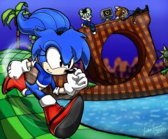 .:REQUEST:. Chilling out in Green Hill Zone by SonicFF