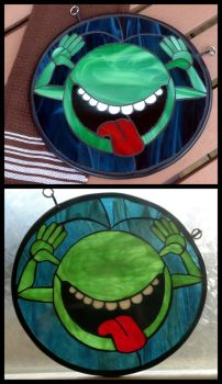 Hitchhiker's Guide to the Galaxy Stained Glass by VitriGeek