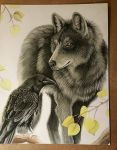 Wolf and Raven Work in Progress by MorRokko