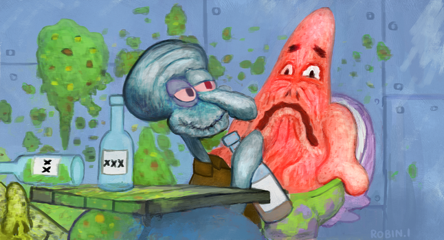 drunk squidward by rubbe
