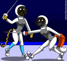 Goldie And Rita's Fencing Match by CaseyDecker