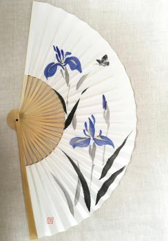 Signs of Summer II, hand-painted Japanese fan by catherinejao