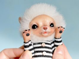 Polar fox is in a striped retro swimsuit SOLD by SulizStudio