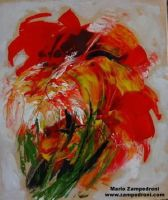 Abstract Red Floral by zampedroni