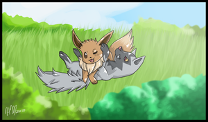 Eevee and Poochyena by DasMinty