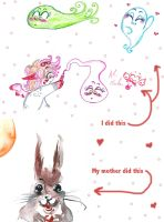 My scribbles and my Mum's watercolour rabbit by Kittychan2005
