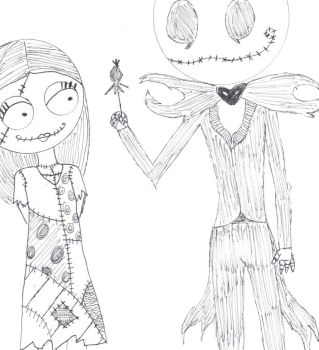 Close up on Jack and Sally by Rannsong