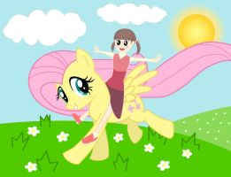 Nanako Riding Fluttershy by LanceOmikron