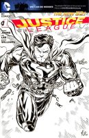 JL Superman Sketch Cover 1 Inks by ElvinHernandez
