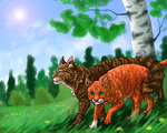 Brambleclaw and Squirrelflight by DiN-the-Painter