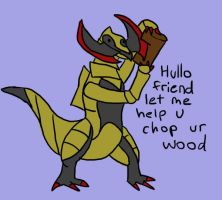 Haxorus Chopping Wood by MasterOfGeckos