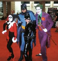 Harley Quinn, Batman, Catwoman, and Joker by ComfortablyEccentric