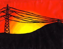 Sunset over Power Lines by EmilyRoseForReal