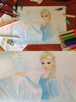 Elsa from Frozen Colored Pencils + Drawing Video by Amana-Jackson