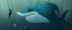 Unhappy Shark by adamrobertsdesigns
