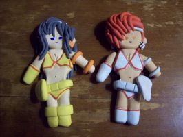 Dirty Pair - Kei and Yuri Polymer Clay Charms by SommerBommer
