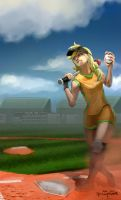 Human High School Ponies: Softball Applejack by ponyrake