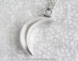 Silver Crescent Moon Necklace by MonsterBrandCrafts