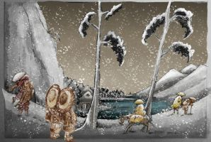 Chinese Childer in Japanese Snow Scene by mr-macd