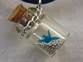 Crane in a bottle - Blue by ayukat