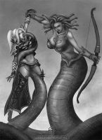 commission - medusa and dark elf by FASSLAYER