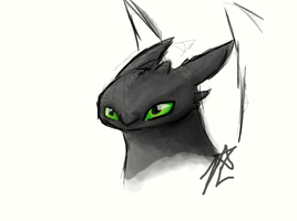 Toothless Tablet sketch by JannaLowe