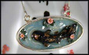 Oval Koi Pond Necklace by NeverlandJewelry
