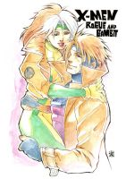 Commission, Rogue and Gambit by ai-eye