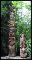 Totems in Capilano Park by Zhaana