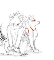 Wolf Link and Amaterasu Sketch by ss2sonic
