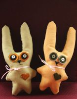 lime and lemon bunnie plushies by nondecaf