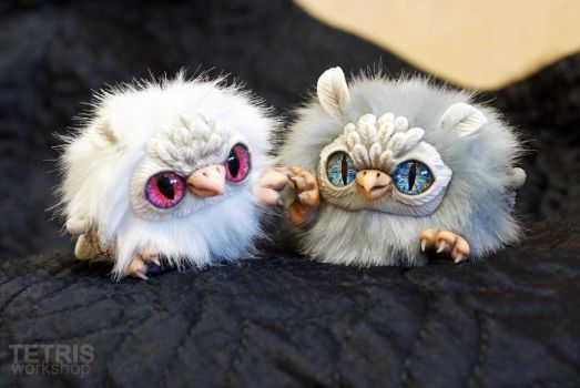 Albino and gray owl toys are friends by KrafiCat