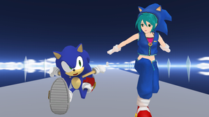 Miku and Sonic by cirs5sonic