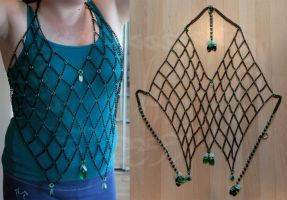Black and Green Chain Halter Top by Ichi-Black