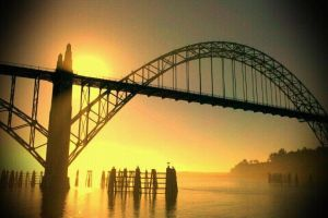 yaquina bay foggy sun by nandamicole