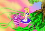 Trippy Alice and Chesire Cat by Nativa-Basco