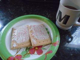 Strawberry toaster pastries and coffee by mylesterlucky7