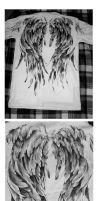 T-shirt~ with wings~ on back (acrylic paint) by Nadia-Lee-Nyan