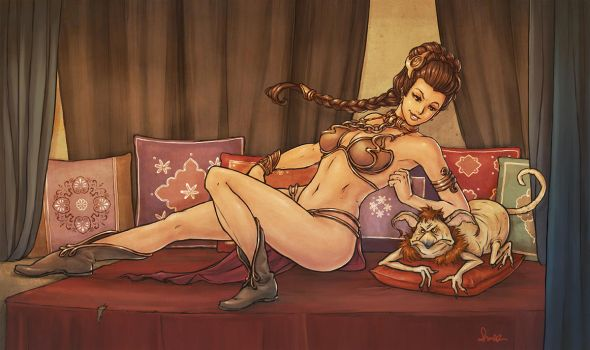 slave leia gets revenge by Merlemage