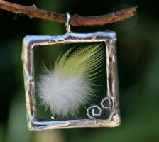 Lemony Lovely Feather Pendant by mermaidencreations