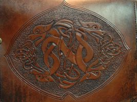 Celtic Dragons tooling detail by Blackthornleather