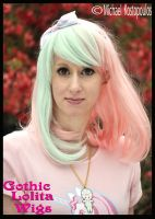 Pink and Mint 2-Tone Bob by GothicLolitaWigs