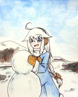 Cyane with a snowman by crazytreasurestudio