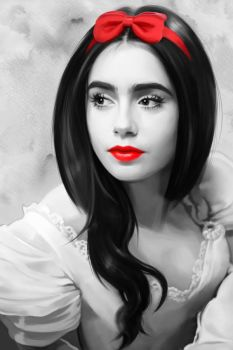 Lily Collins as Snow White BW by MartaDeWinter