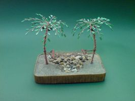 Bonsai Wire Tree Sculpture Beaded Palm by sinisaart