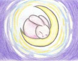 Rabbit in the Moon by demonkitty21