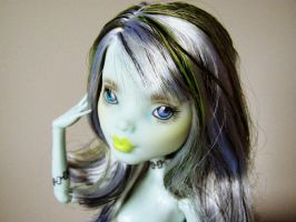 Monster high frankie stein repaint 1 by hellohappycrafts